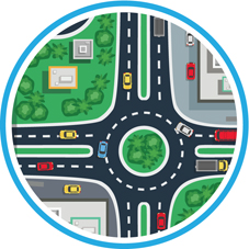 Icon of a roundabout to show how workplace parking levy will help to pay for improvements to transport infrastructure