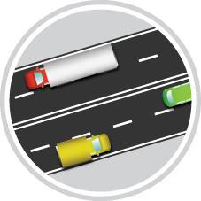 Icon of vehicles on a road to show how Connecting Oxford will help to reduce traffic congestion