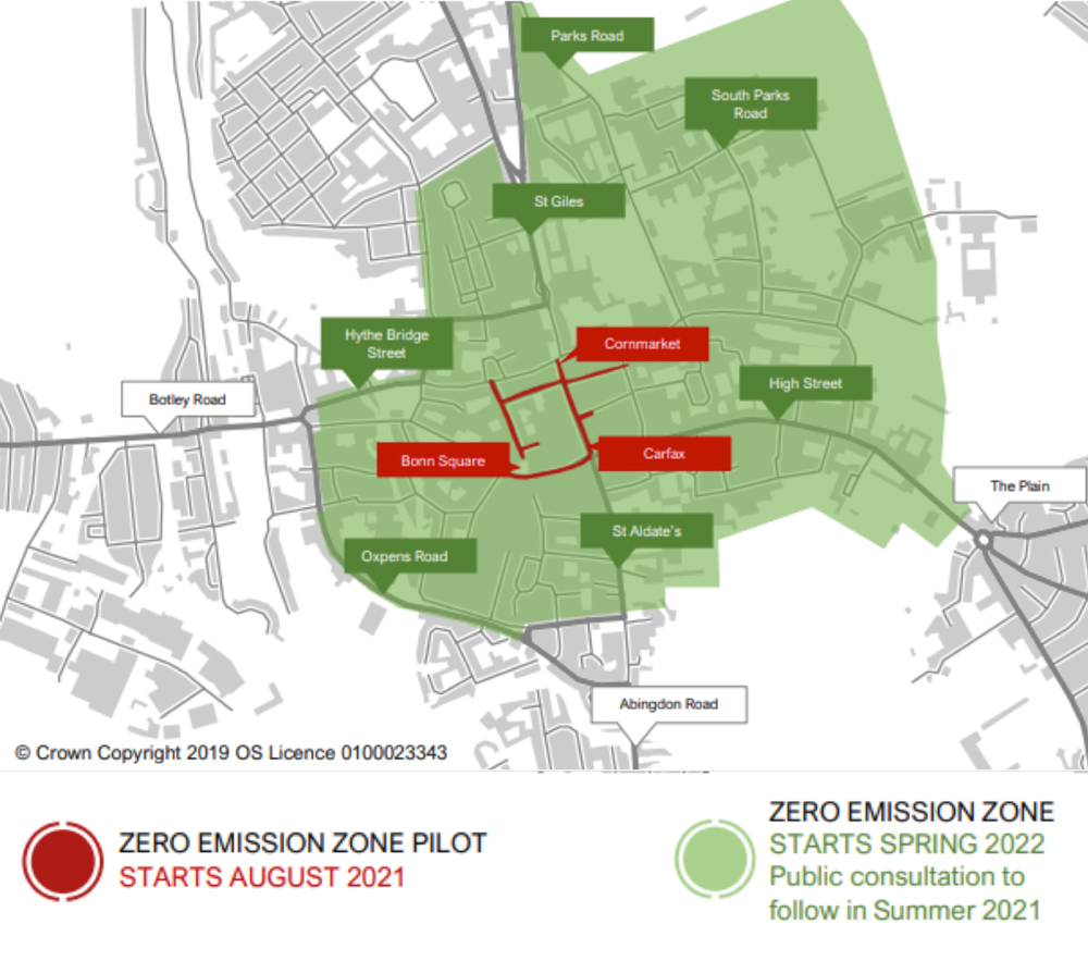 A map showing proposed Zero Emissions Zone in Oxford highlighted in red or green according to their planned start date